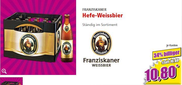 Norma: Franziskaner Weißbier für 10,80 (+ 3,10 Euro Pfand) ab dem 4.9.2017
