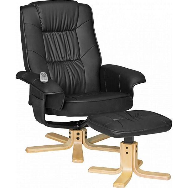 [Plus] AMSTYLE Fernsehsessel COMFORT TV Design Relax-Sessel Bezug Kunstleder Schwarz drehbar mit Hocker XXL ohne Motor 110kg