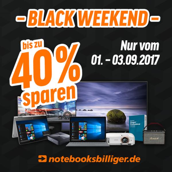 Notebooksbilliger Black Weekend - Notebooks, PCs, Tablets, Monitore, Haushaltsgeräte, Smartphones, Fernseher, Beamer uvm um 15-20% reduziert