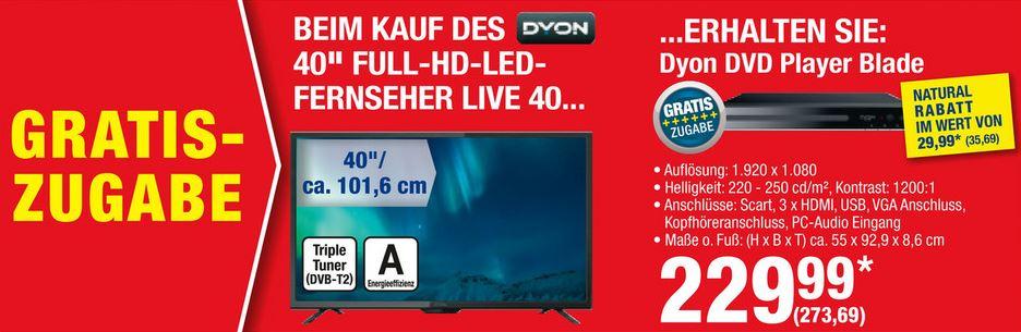 """[Metro] Bundle: Dyon Live 40, LED-Fernseher schwarz, DVB-T/C/S2-Tuner, HDMI, USB, SCART, CI+ 102 cm (40"""") 1920x1080 Pixel 16:9 + Dyon Blade DVD-Player HDMI USB Schwarz"""