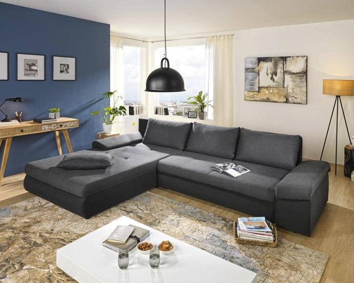 wohnlandschaft mit schlaffunktion und bettkasten f r 399. Black Bedroom Furniture Sets. Home Design Ideas