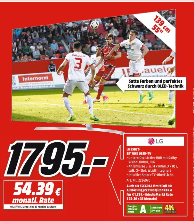 [Mediamarkt-Prospektangebote] Zb. LG OLED55B7D 139 cm (55 Zoll) OLED Fernseher (Ultra HD, Dual Triple Tuner, Smart TV) für 1795,-€ Versandkostenfrei//Angebot Online etc...