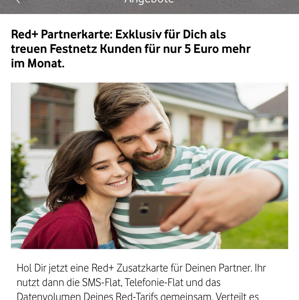 Vodafone Partnerkarte -vorausgesetzt Red + Internet & Phone Vertrag-