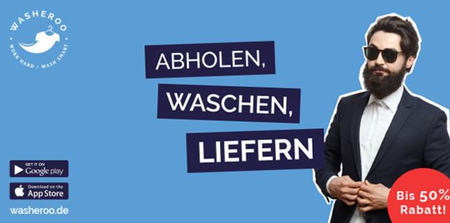Reinigung z.B. 10 Hemden à 0,90 - 1€ inkl. Abholung & Lieferung washeroo LOKAL 16 Städte
