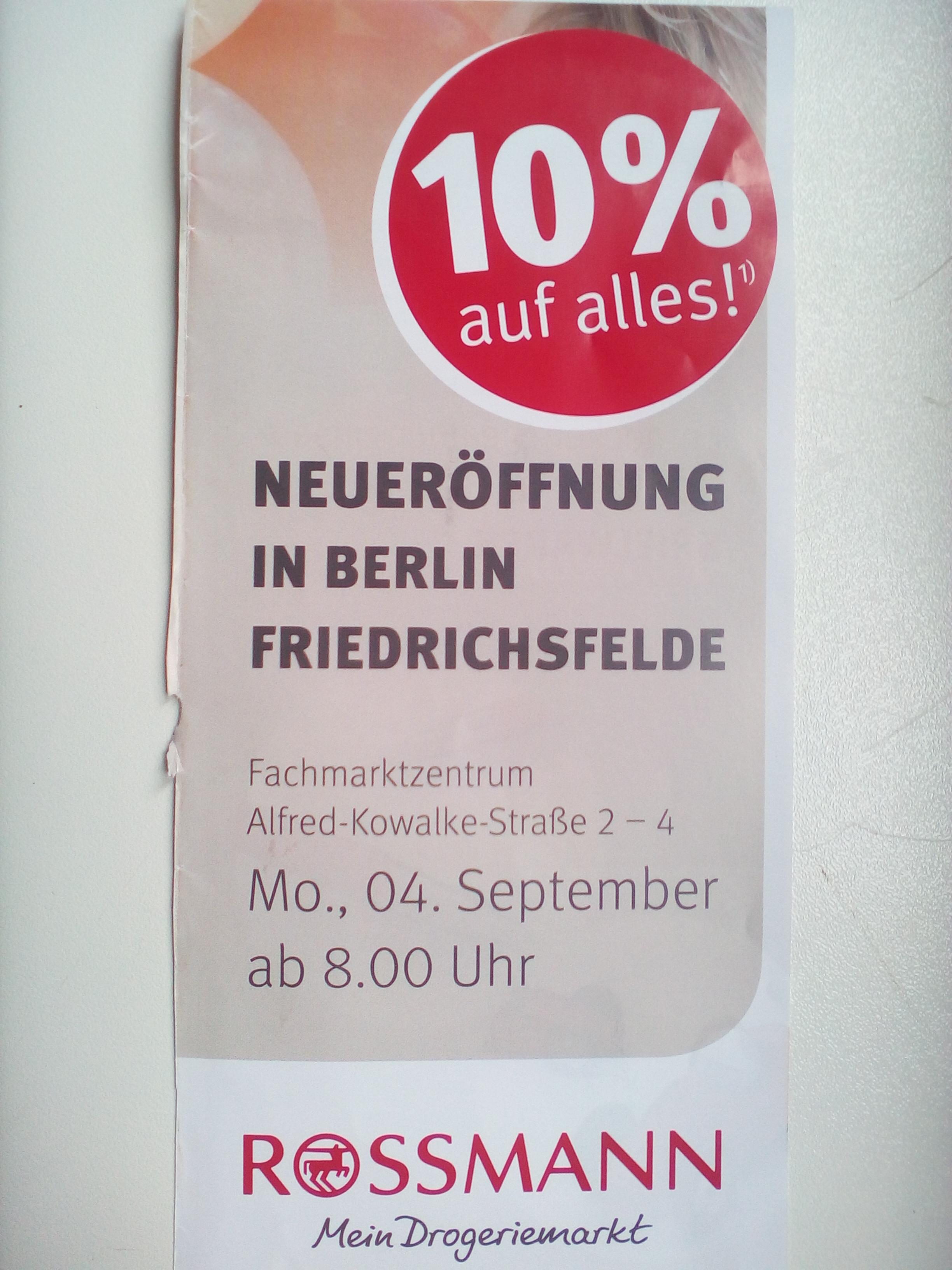 [Lokal Berlin Friedrichsfelde Rossmann 4.9-9.9.2017] 10% auf Alles, gratis Cremeseife, 5 gratis Fotos