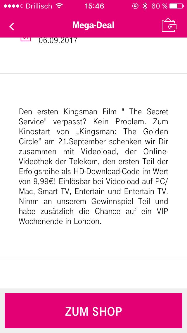 Kingsman The Secret Service in HD gratis bei Videoload über die Telekom Megadeal-App