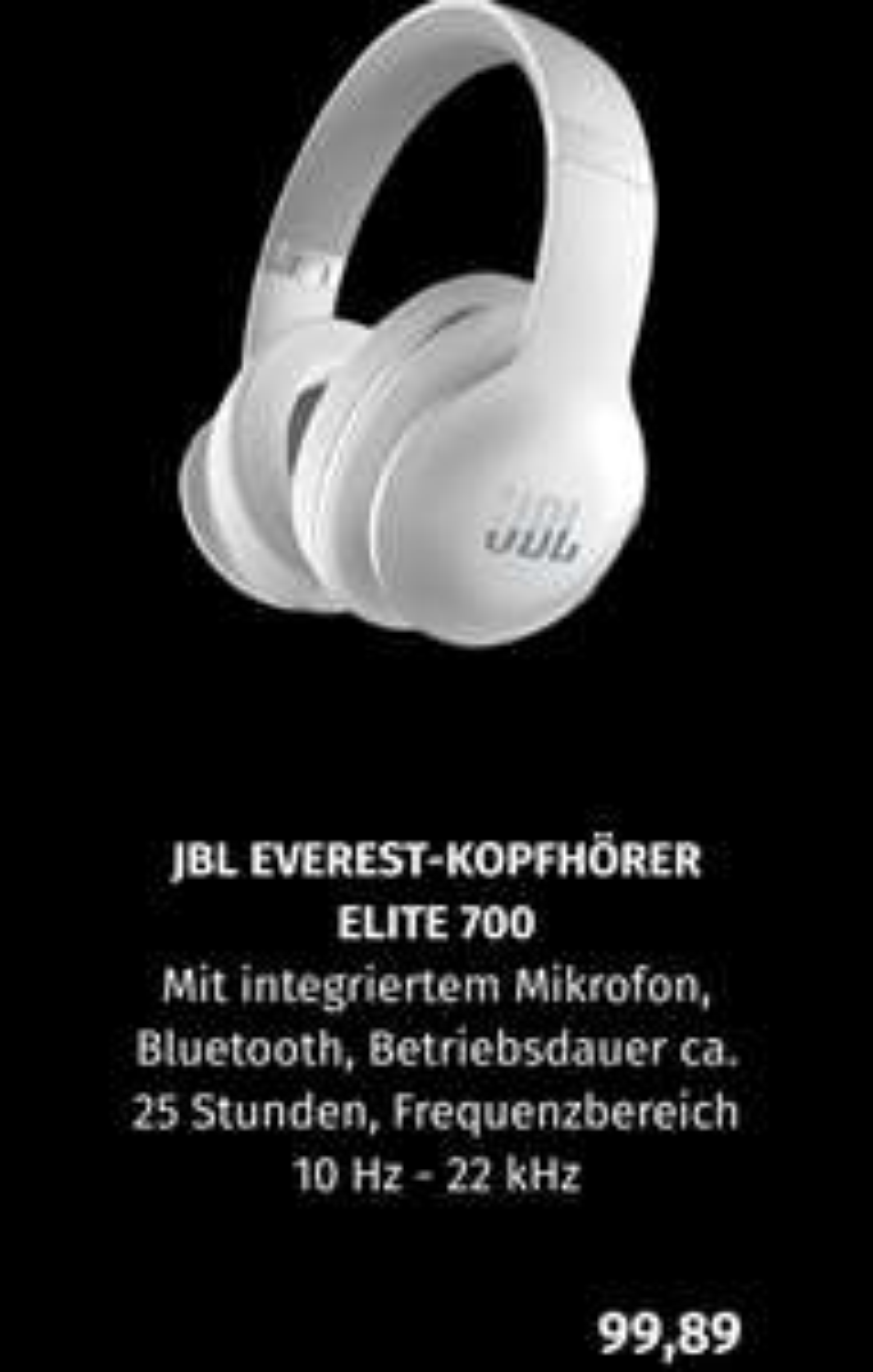 [Black.de Filiale - bundesweit] JBL Everest Elite 700 Kopfhörer Weiß für 99,89€