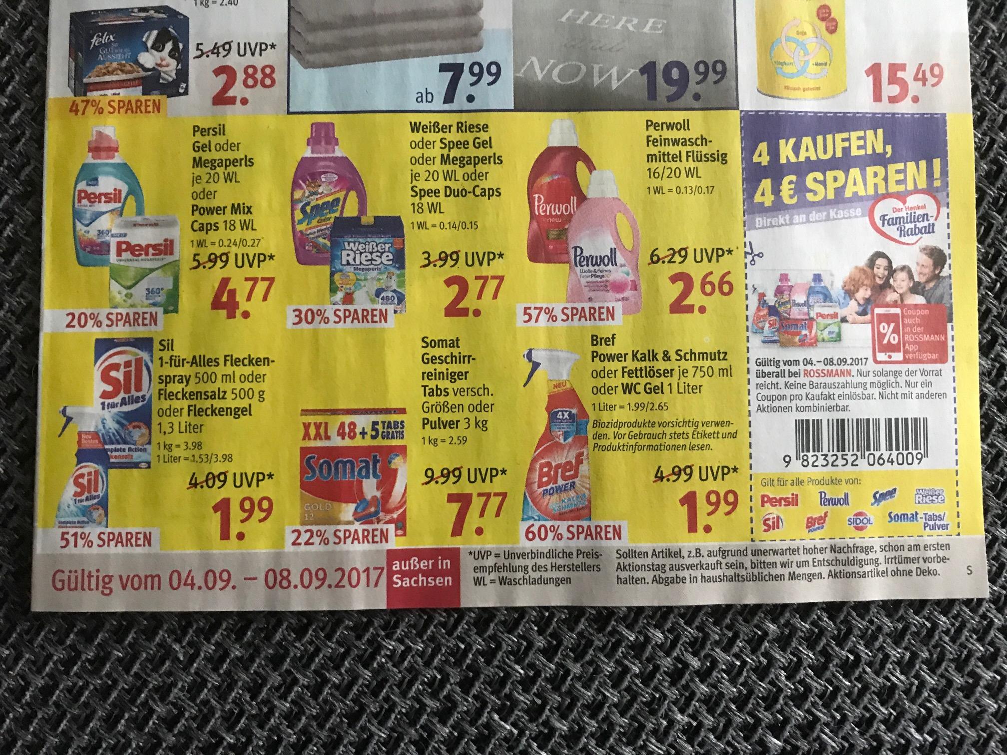(ROSSMANN) 4x Sil 1-für-Alles Fleckenspray, Fleckensalz oder Fleckengel für 3,96€