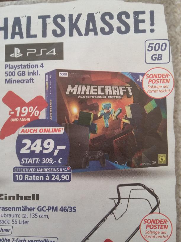 Sony PS 4 Playstation 4 SLIM 500GB inklusive Minecraft