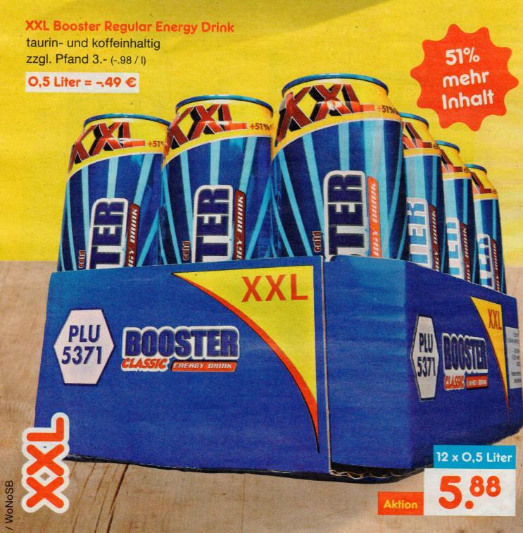 12x Booster Energy-Drink 0,5l Dosen (nicht 0,33l) +51% Inhalt für 0,49€/Stück bei Netto MD ab 04.09.2017