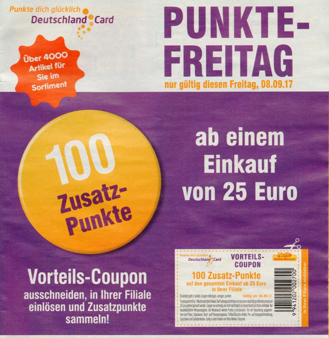 100 DC-Coupon im Prospekt ab 25€ Einkaufwert bei Netto MD am Freitag