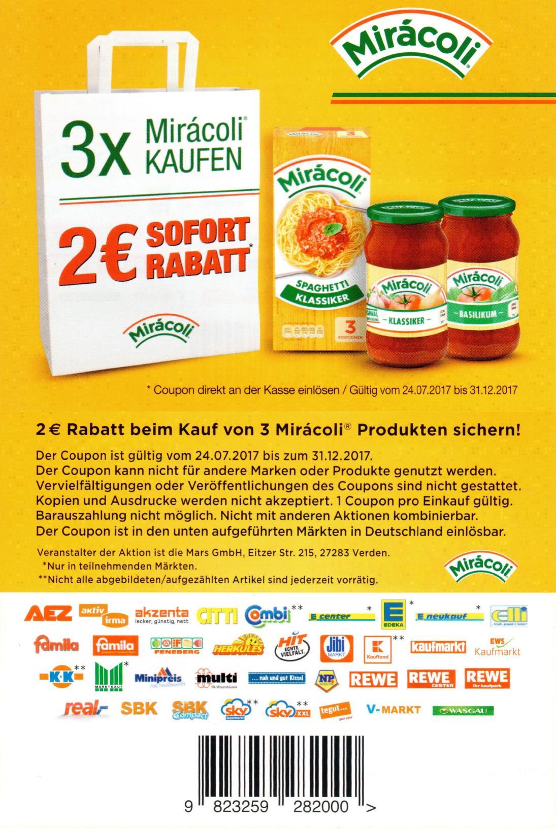 2,00€ Sofort-Rabatt-Coupon für 3x Miracoli Produkte nach Wahl bis 31.12.2017 mit abweichender EAN [Bundesweit]