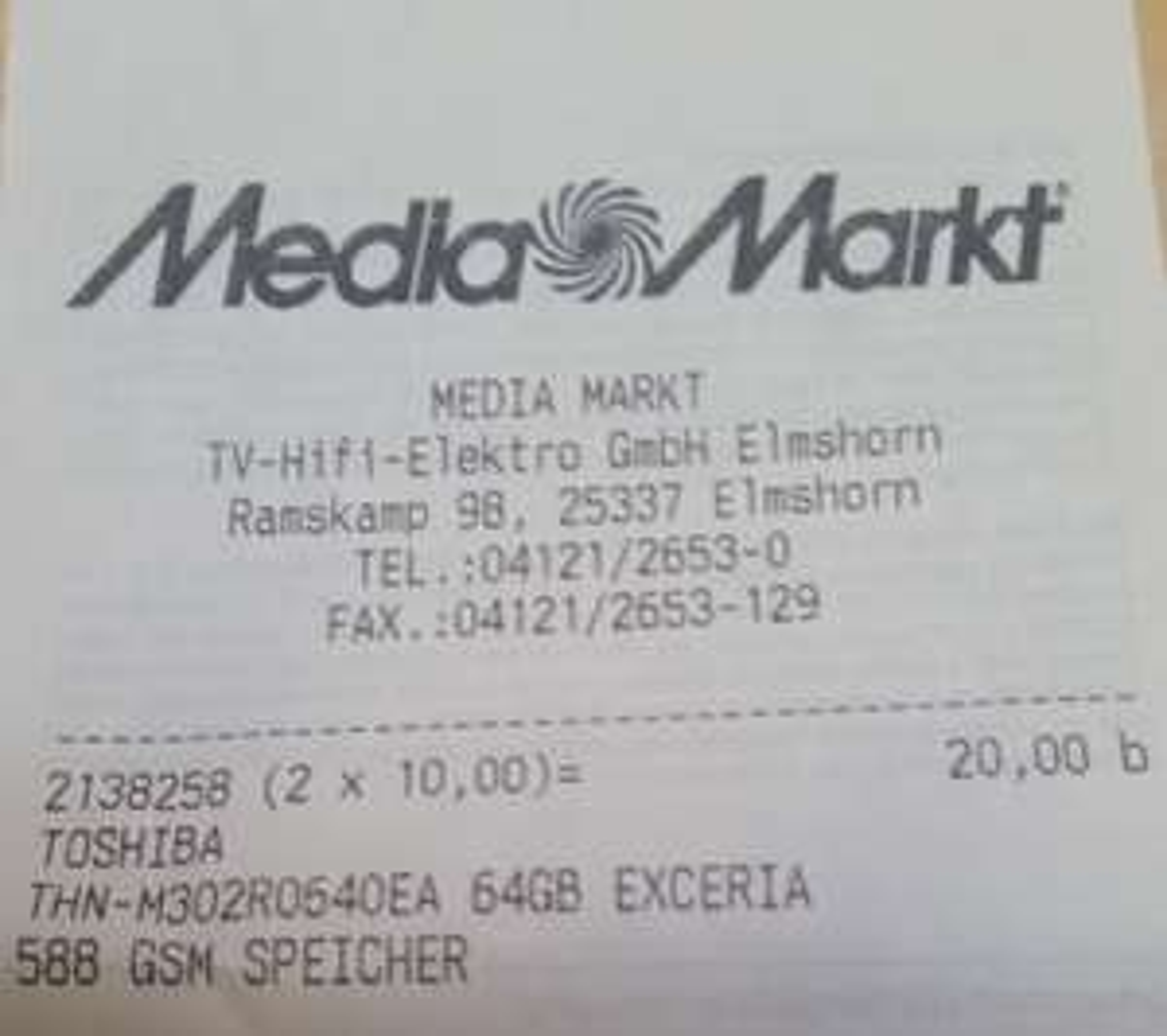 (Lokal MM Elmshorn) Toshiba 64GB microSDXC UHS-I 10€