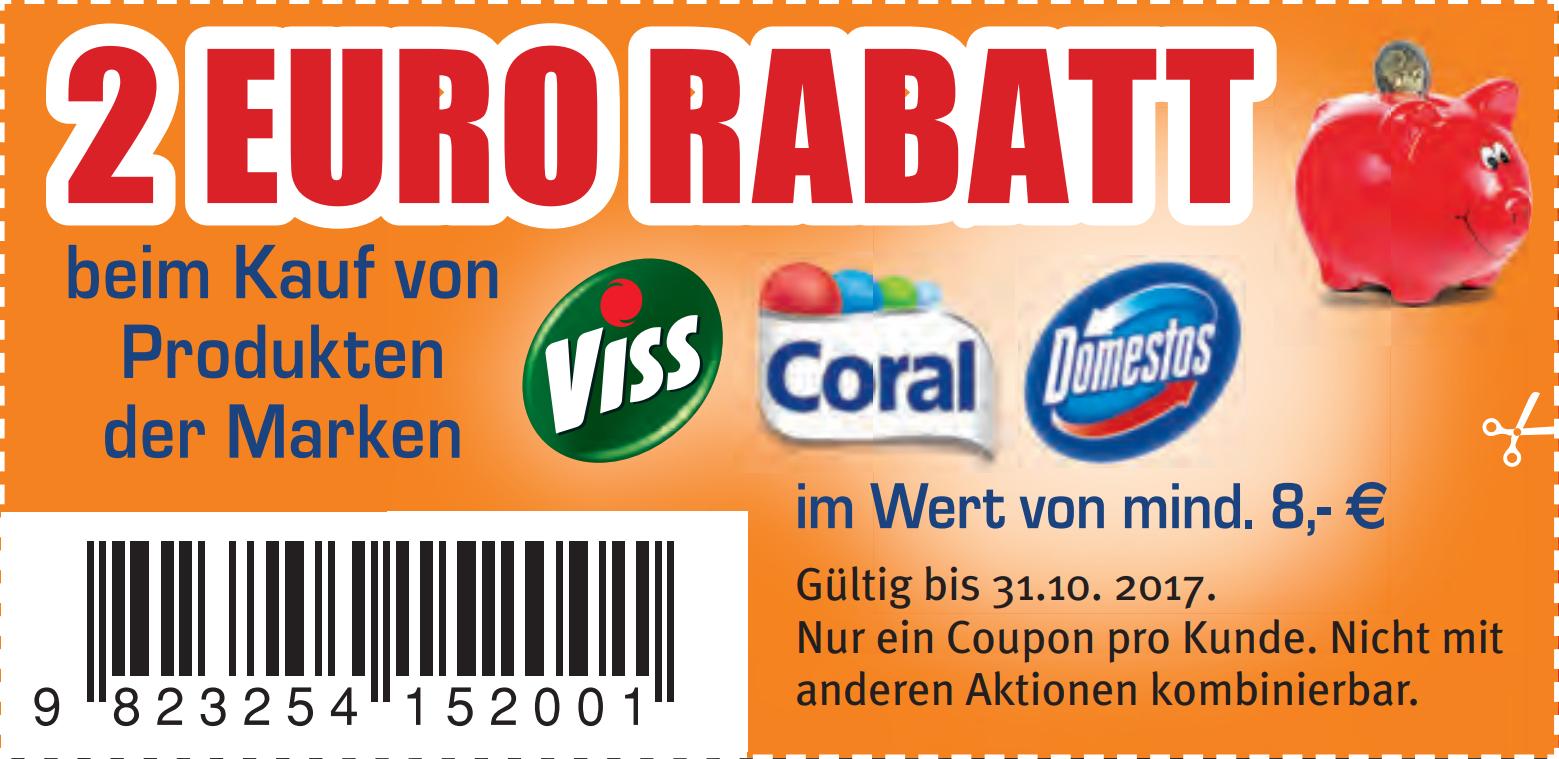2€ Sofort-Rabatt-Coupon für Kauf von Viss/Coral/Domestos Produkten ab 8€ zum Ausdrucken bis 31.10.2017 [Bundesweit]