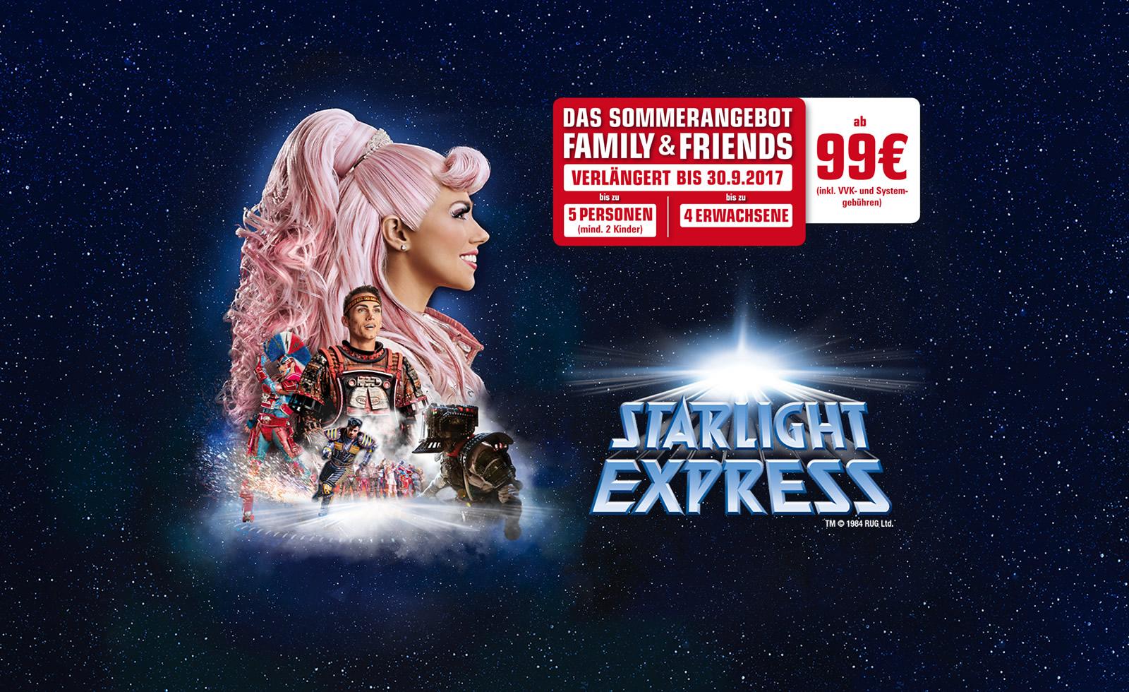 Musical in Bochum STARLIGHT EXPRESS bis 30.9.2017 - 5 Musical Tickets (mind.2 Kinder bis 14J.) oder 4 Erw. ab 99€
