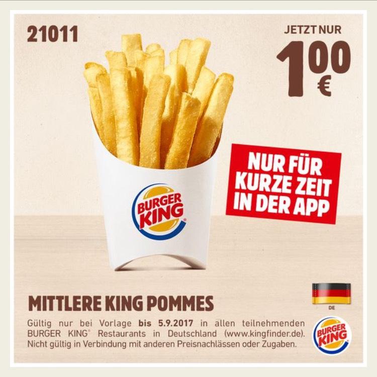 [Burger King App] Mittlere King Pommes 1€