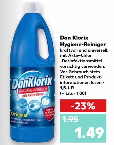 7x DanKlorix Hygiene-Reiniger 1,5l für 1,06€/Flasche bei Kaufland ab 07.09.2017 (Angebot+Coupon)