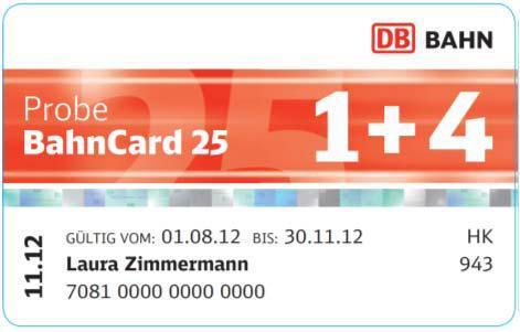 Probe BahnCard 25 1+4 (auch für Mitfahrer)