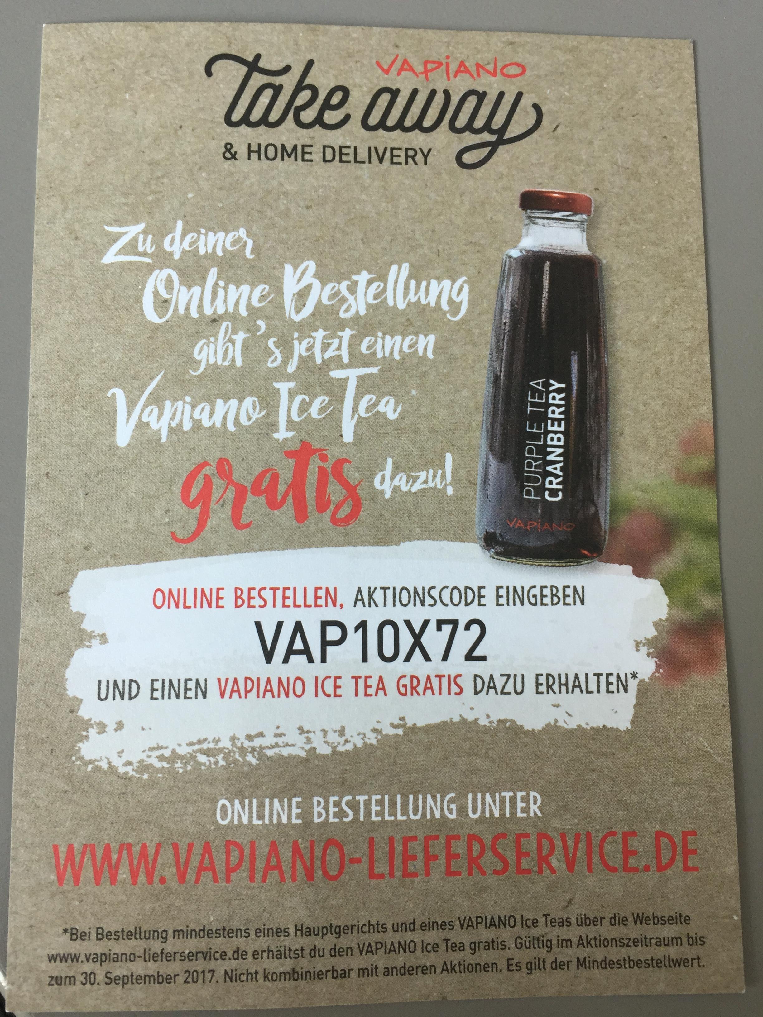 Gratis Eistee zur Online-Bestellung @ Vapiano