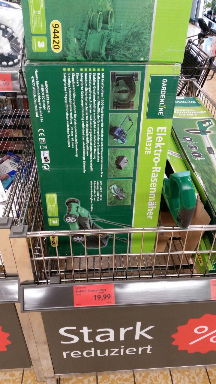 Gardenline GLM32E Elektrorasenmäher + Fangbox beim Aldi in Burglengenfeld für 19,99 Euro