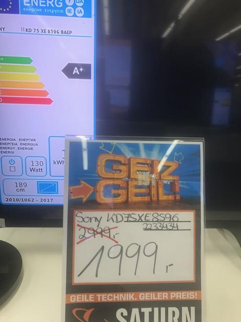 Lokal Sony KD 75 XE 8596 1999.- Anstatt 2849.-