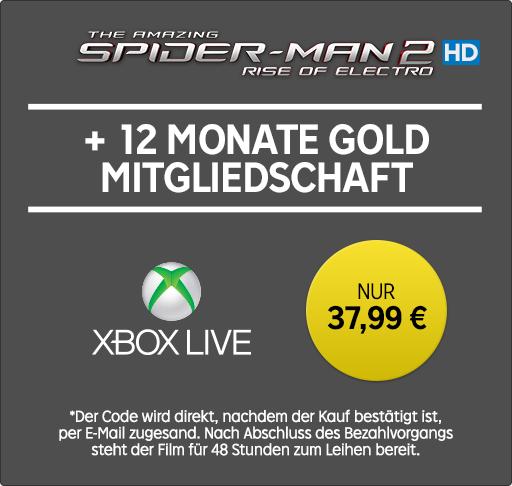 [Rakuten TV] xbox Live Gold 12 Monate & Film The Amazing Spider-Man 2 Rise of Electro