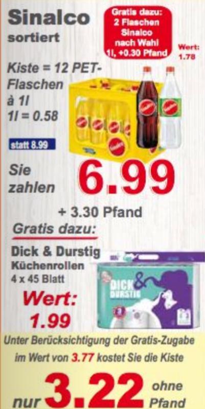 Sinalco Kiste + 2 Flaschen Gratis (alle Sorten!) + Dick & Durstig Küchenpapier gratis  Klaas & Kock