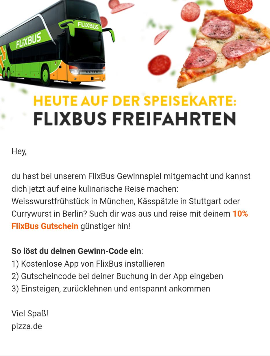 Flixbus 10 % Gutschein