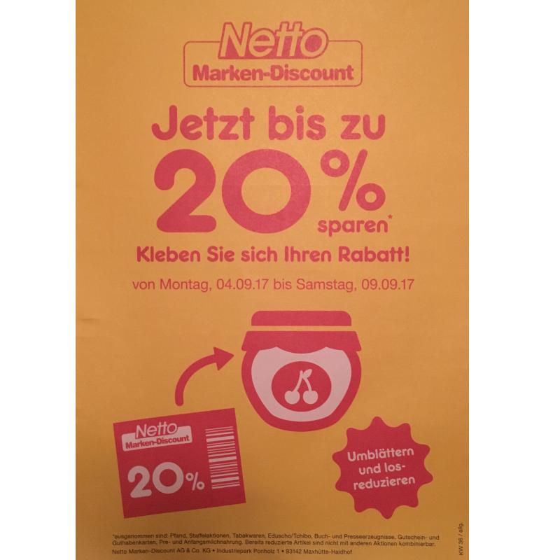 Netto- bis zu 20% Rabatt 4.9. - 9.9. ( rot-gelb)