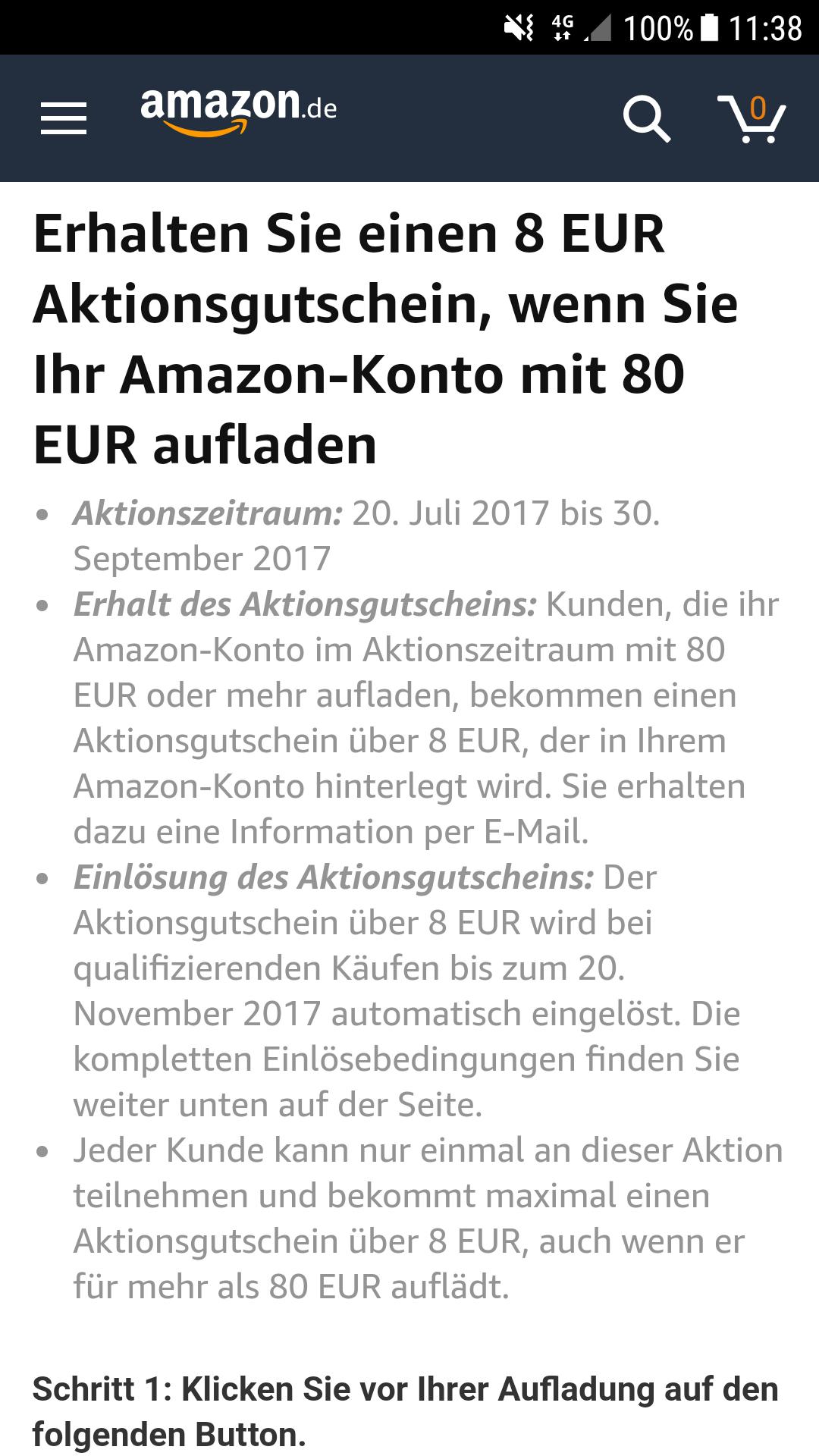 80 Euro Amazon Guthaben aufladen und 8 Euro oben drauf geschenkt bekommen