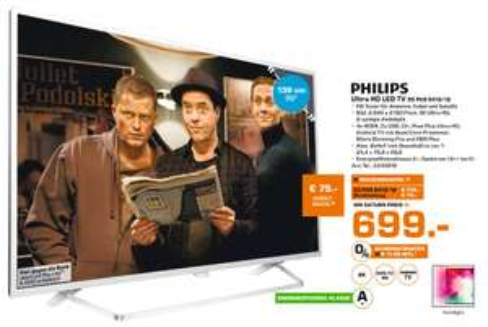[Saturn  PHILIPS 55PUS6412/12, 139 cm (55 Zoll), UHD 4K, SMART TV, LED TV, 900 PPI, Ambilight 2-seitig, DVB-T2 HD, DVB-C, DVB-S, DVB-S2 für 699,-€