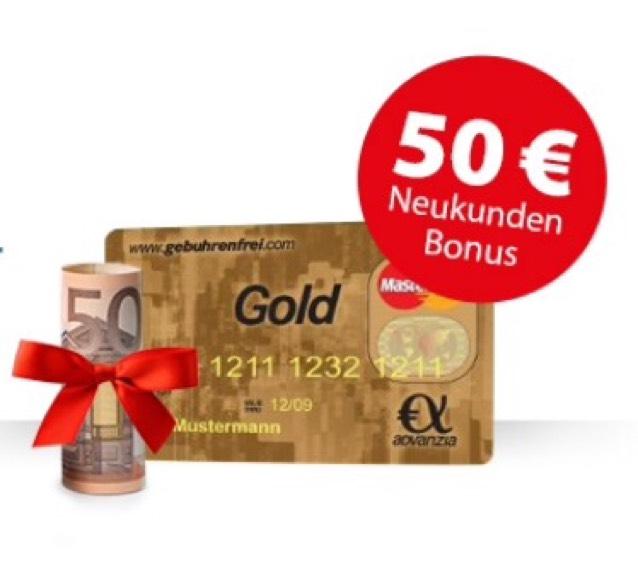 advanzia mastercard gold mit 50 startguthaben. Black Bedroom Furniture Sets. Home Design Ideas