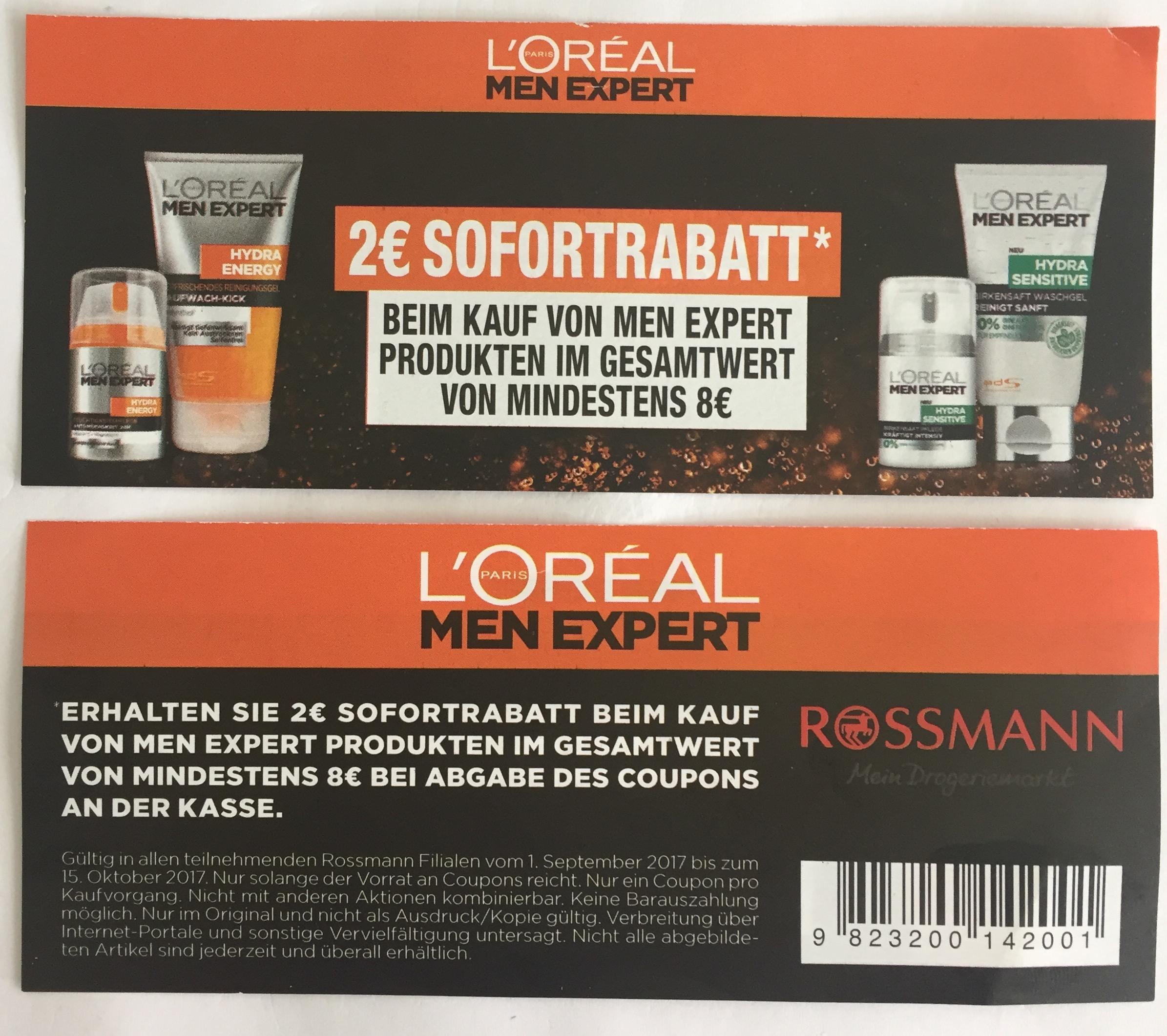 L'Oreal Men Expert 2 Euro Sofortrabatt bei Rossmann