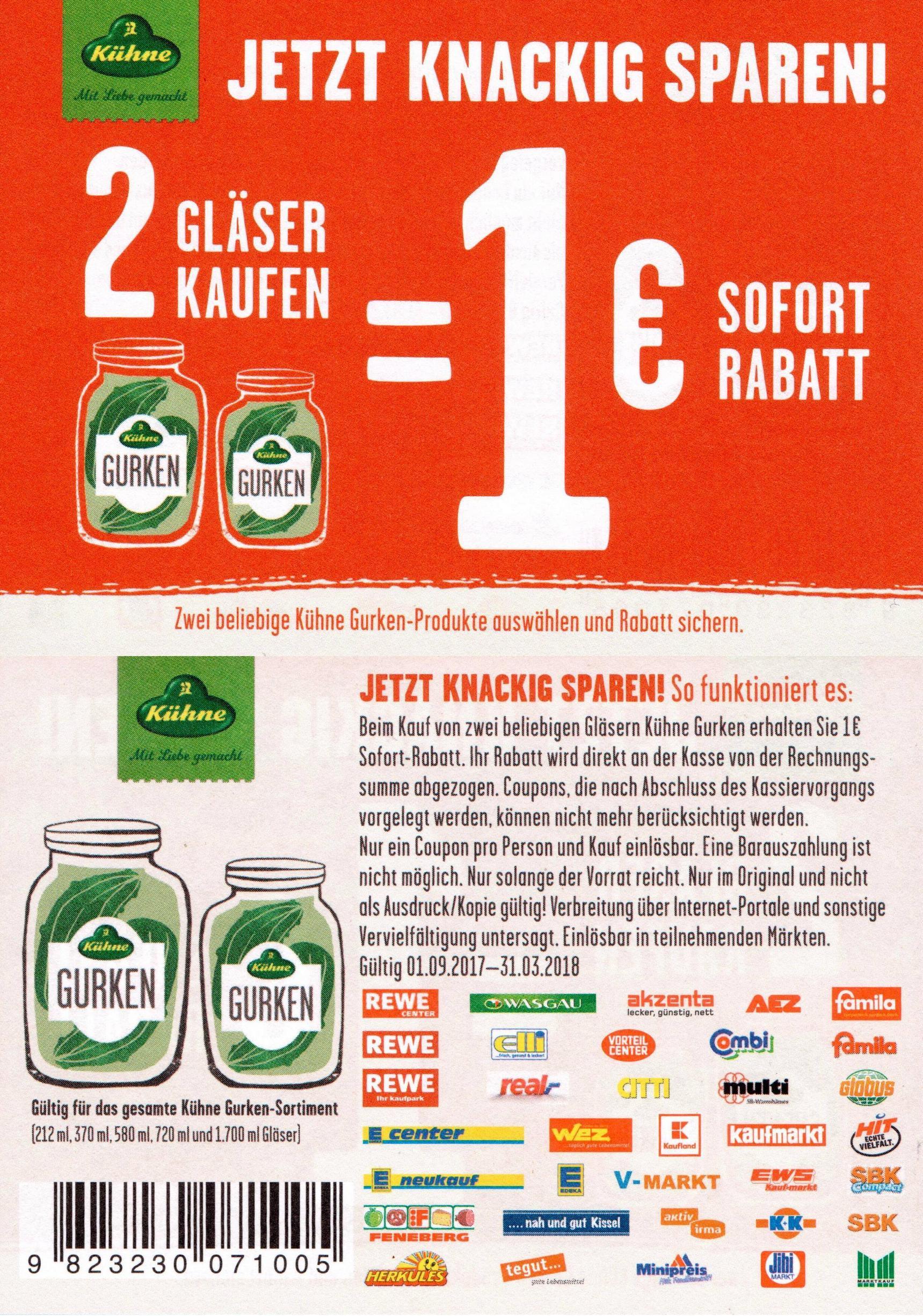 1,00€ Regal-Coupon für 2x Kühne Gurken (alle Gurken-Produkte) [Bundesweit]