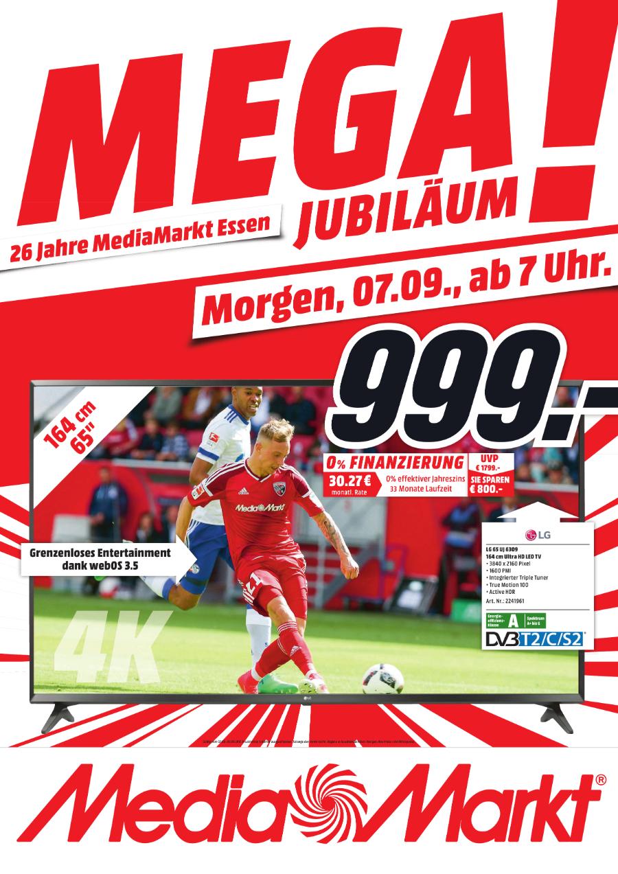 [Lokal Mediamarkt Essen ab Donnerstag] LG 65UJ6309, 164 cm (65 Zoll), UHD 4K, SMART TV, LED TV, True Motion 100, 1600 PMI, DVB-T2 HD, DVB-C, DVB-S, DVB-S2 für 999,-€