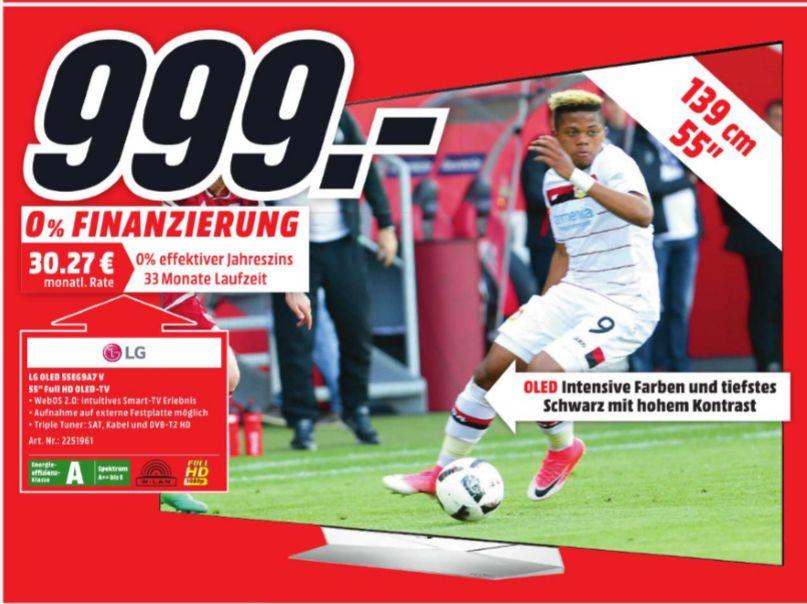 [Lokal Mediamarkt Bornheim-Roisdorf ab Donnerstag] LG 55EG9A7V OLED TV (Flat, 55 Zoll, Full-HD, SMART TV, webOS) für 999,-€
