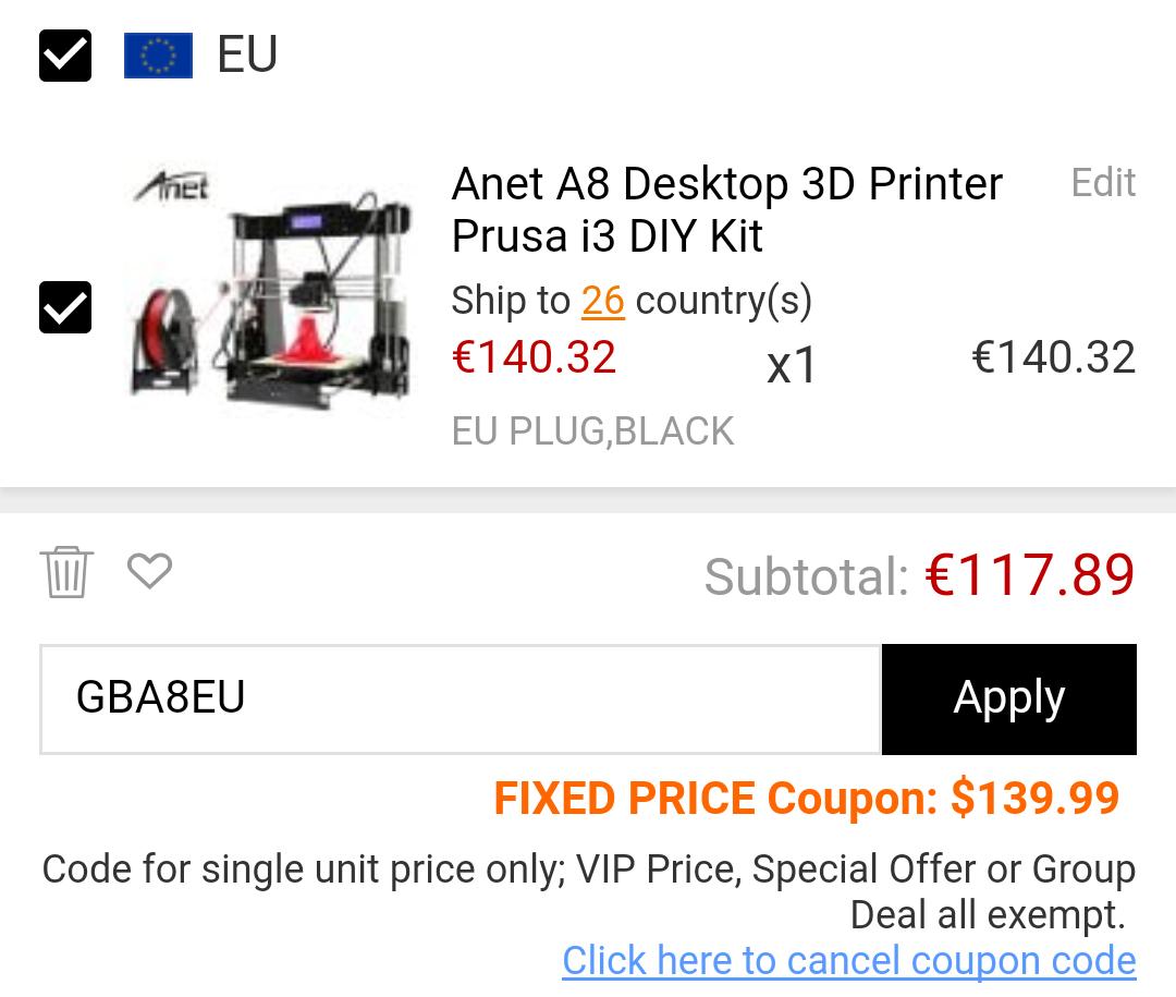 [Gearbest] ANet A8 3D Drucker aus EU-Lager *Bestpreis*