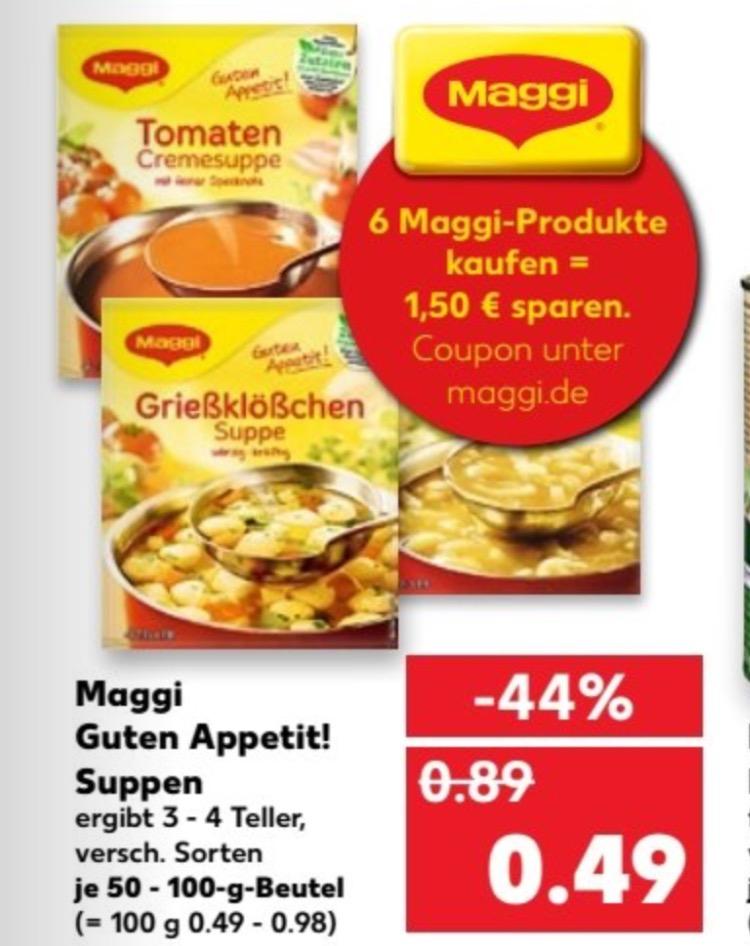 """Maggi """"Guten Appetit Suppe"""" (kein Maggi Fix!) Verschiedene Sorten*0,24 Cent pro Tüte*anstatt ca 0,89 Cent * durch Angebot+Coupon* [Kaufland]."""