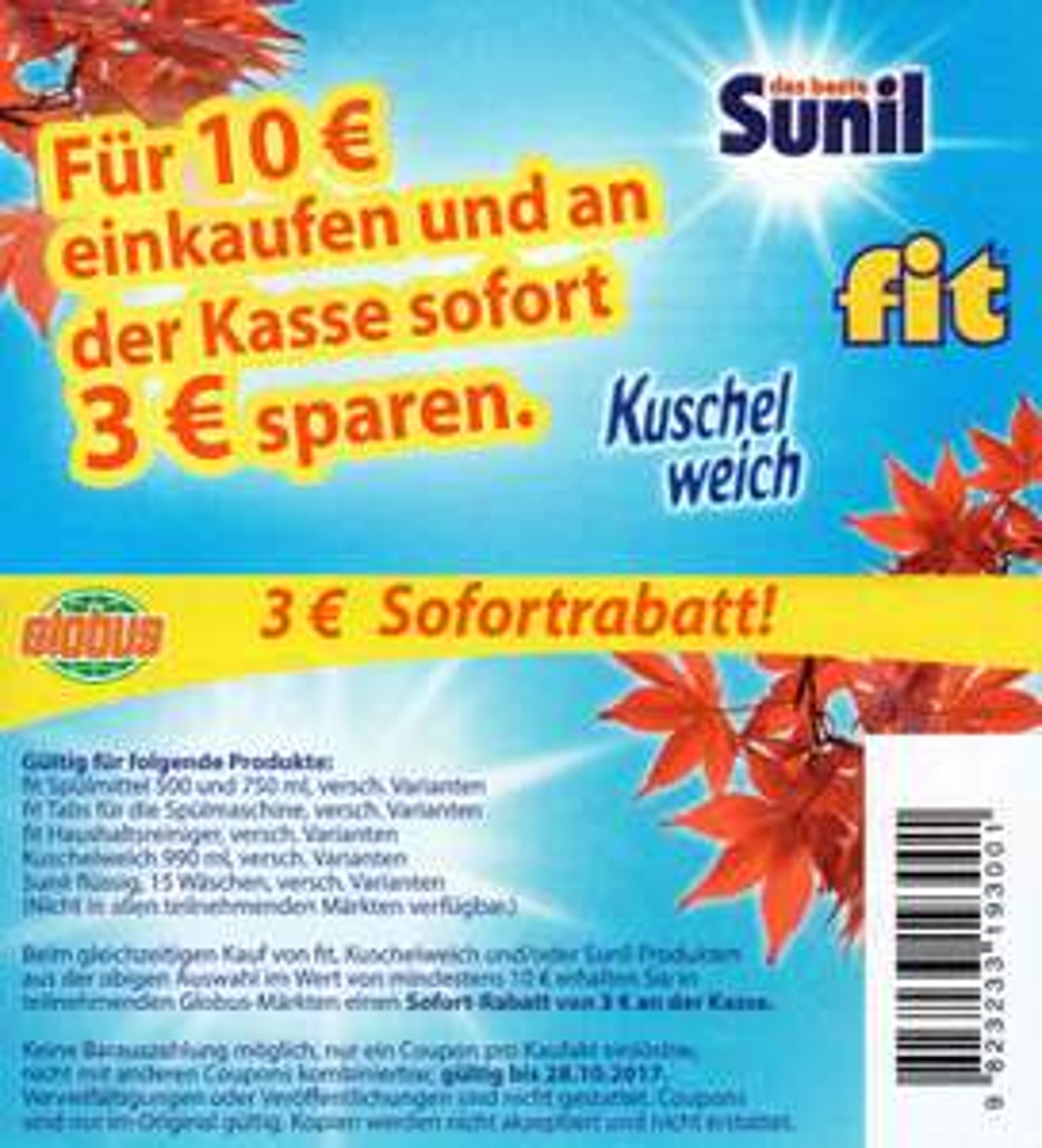 [GLOBUS] -3,00€ Regal-Coupon für Sunil, Fit und Kuschelweich Produkte ab 10,00€