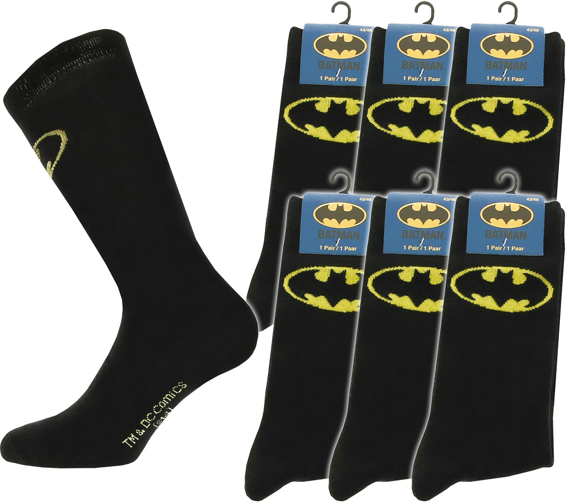 6 Paar Batman Socken in Schwarz mit Logo, Gr. 39 - 42 + 43 - 46