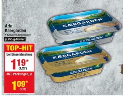 [Metro] Arla Kaergarden 250g gesalzen oder ungesalzen ab 1,17 € pro Packung (ab 3 Packungen), sonst 1,27 € pro Packung (07.09. - 13.09.)