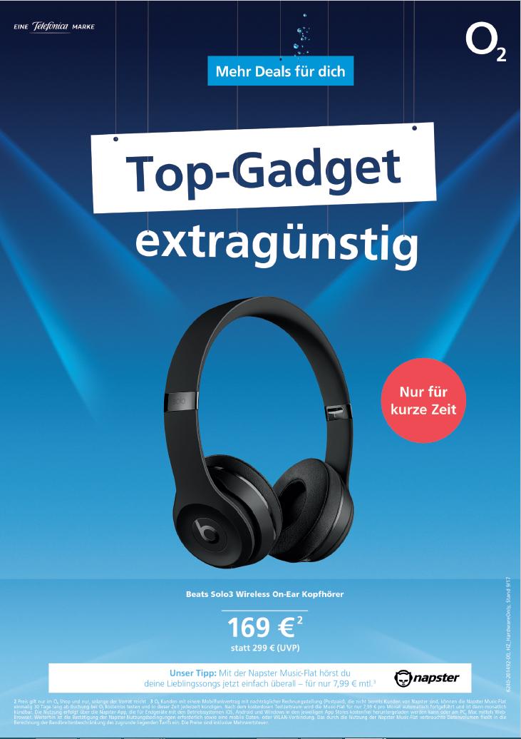 o2 - Beats Solo 3 Wireless Kopfhörer für 169€ in allen o2 Shops + 40€ Cashback bei o2 Banking = 129€