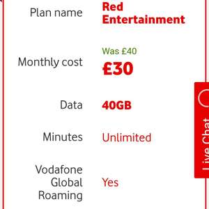 Vodafone (England) sim only deal Red Entertainment 40GB LTE für 32,82€ im Monat!