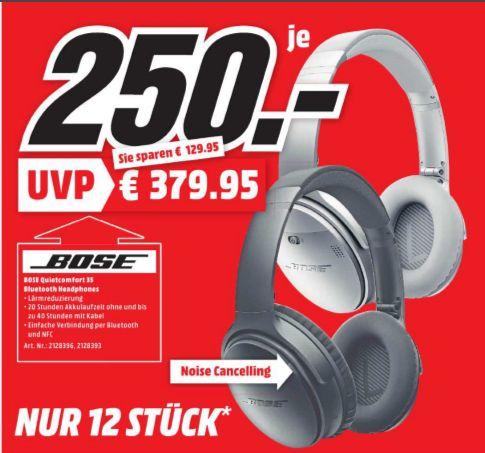 [Lokal Mediamarkt Weinheim / NUR SONNTAG] Bose QuietComfort 35 Wireless Kopfhörer schwarz oder silber für je 250,-€ **Achtung..NUR 12 Stück