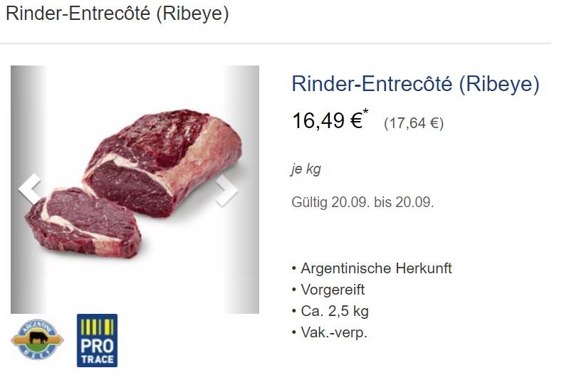 [Metro] Tagesdeal 20.09.2017 Argentinisches Rinder-Entrecôte (Ribeye) 17,64 €/kg