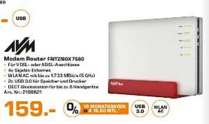 [Lokal Saturn Hamburg/Norderstedt ab 13.09/Sammeldeal] Zb...AVM FRITZ!Box 7580 WLAN AC + N Router (VDSL-/ADSL-/ADSL2+-Modem, 4x4 MU-MIMO mit 1.733 (5 GHz) + 800 MBit/s (2,4 GHz), DECT-Basis, Media Server für 159,-€ und weiteres