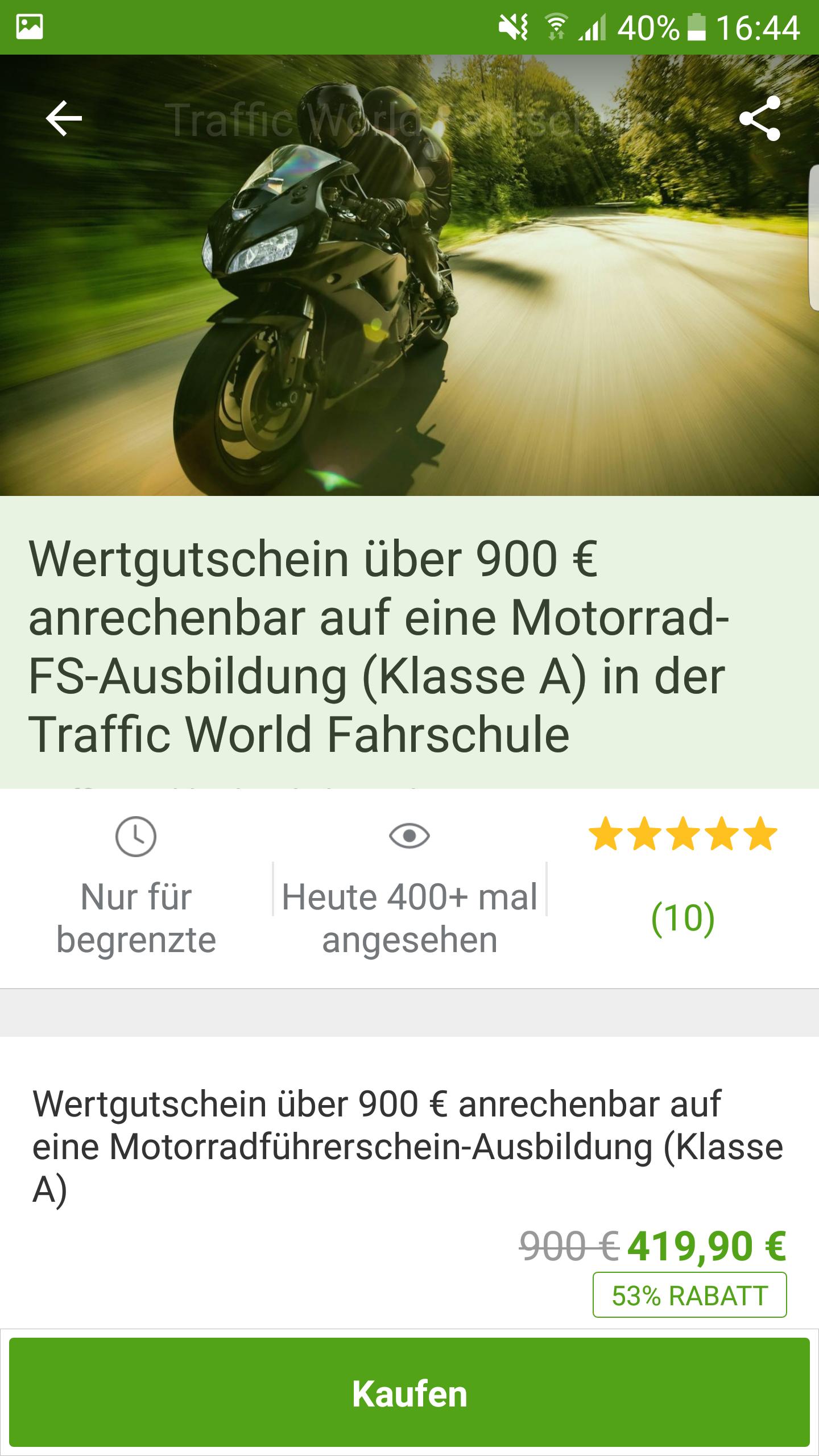 [LOKAL KÖLN] Motorradführerschein Klasse A