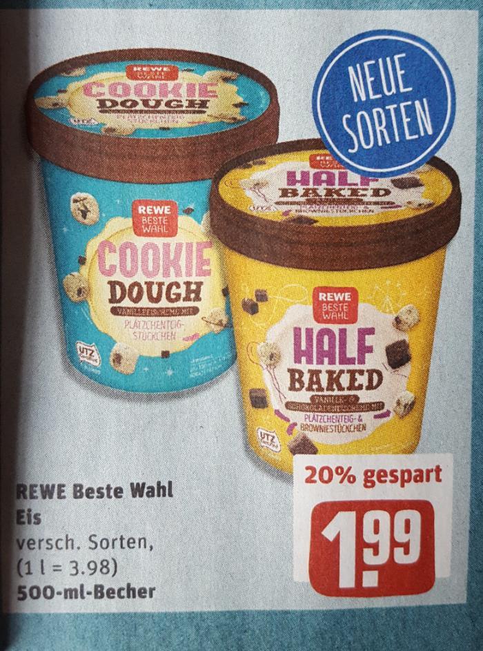 REWE: Beste Wahl Eis (neue Sorten - 500ml) - Cookie Dough, Half Baked oder Peanut Butter für jeweils 1,99 Euro.