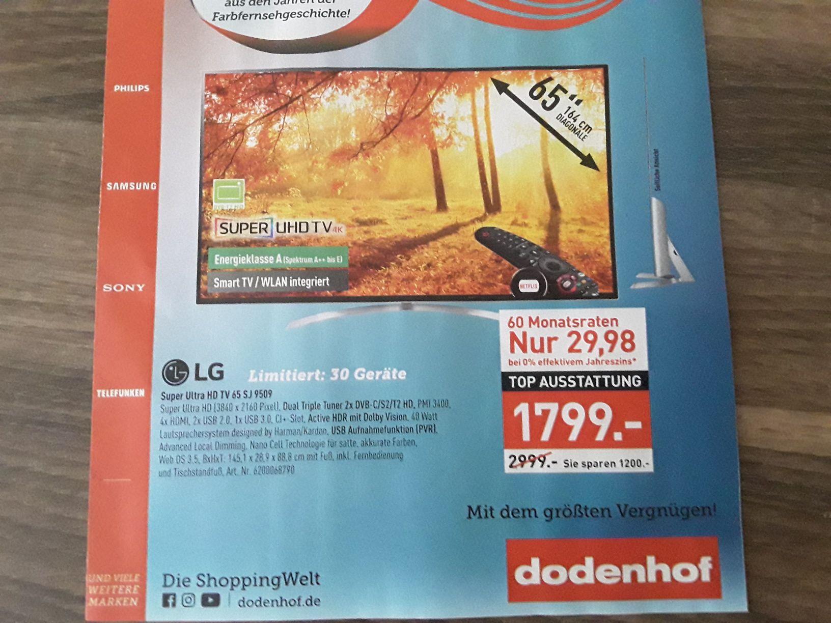 "LG Super Ultra HD TV 65SJ9509 65"" 164 cm Fernseher (Dodenhof bei Posthausen nähe Bremen)"