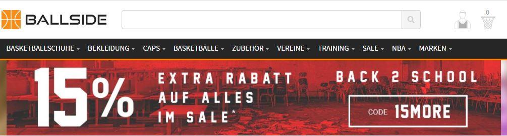 15% Extra Rabatt auf alles im Sale bei Ballside!